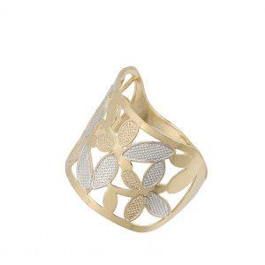 Inel placat cu aur de 18k, 2 microni, productie Brazilia, combinatie de aur galben si alb 7104O929
