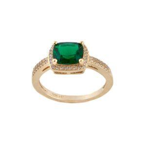 Jeni, inel placat cu aur de 18 k, cu un cristal verde