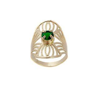 Smaranda, inel placat cu aur de 18 k , cu o piatra zirconia verde