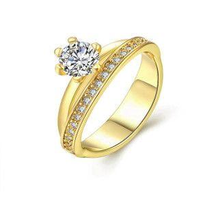 Inel placat cu aur de 18 k , model delicat cu o piatra zirconia alba stralucitoare si pietricele micropave