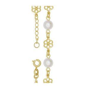 Meryl, bratara placata cu aur de 18 k, colectia White Pearl