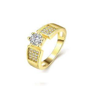 Inel placat cu aur de 18 k, cu montura micropave