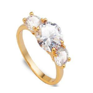 Doria, inel placat cu aur de 18 k, cu trei pietre zirconia albe