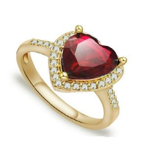 Red heart , inel placat cu aur de 18 k