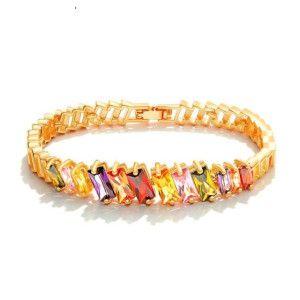 Bratara placata cu aur de 18 k, cu cristale multicolore