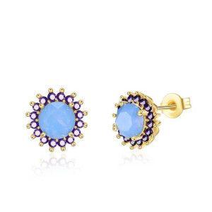 Blue style, cercei placati cu aur de 18 k - 7320o818
