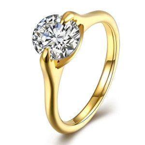 Solitair, inel placat cu aur de 18 k, cu o piatra zirconia multifatetata in forma de diamant - 7323O920