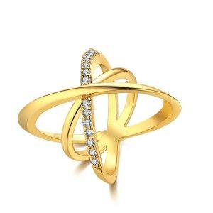 Modern style, inel placat cu aur de 18 K cu pietre zirconia- 7324O925