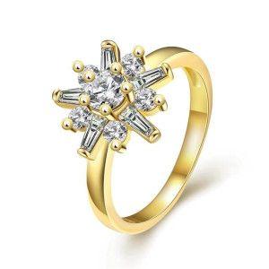 Crystal, inel placat cu aur de 18 k, cu pietre zirconia - 7335O920