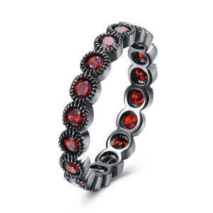 Inel placat cu rodiu negru, Black Gun cu pietre zirconia rosii, model infinity - 7338O917