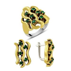 Set argint 925, partial placat cu aur, cu  zirconia emerald green - 7417O5150