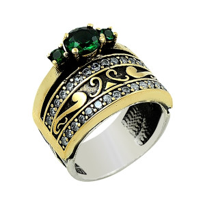 Inel argint 925, partial placat cu aur, cu pietre zirconia albe si radacina de smarald, stil otoman- 7420O984