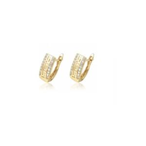 Cercei placati cu aur de 18k, model grecesc cu pietricele zirconia 7445O821