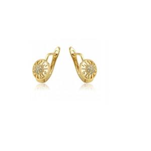 Cercei placati cu aur de 18k, cu pietricele zirconia montura micropave 7446O816
