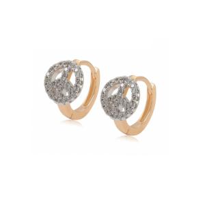 Cercei placati cu aur de 18 k, cu pietre zirconia , montura micropave, 7468O818