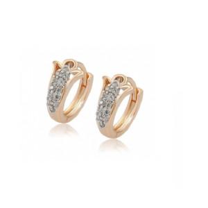 Cercei placati cu aur de 18 k, cu pietre zirconia , montura micropave, 7469O818