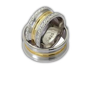 Verigheta argint 925,rodiata, placata partial cu aur galben 7474O980