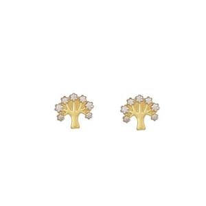 Cercei placati cu aur de 18 k,2 microni, productie Brazilia, model Pomul Vietii, 7493O814