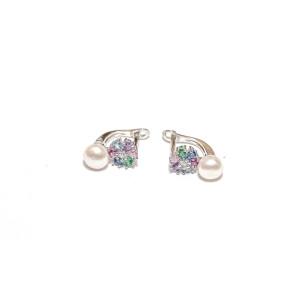 Cercei argint 925, rodiat, cu pietre zirconia si perle 7506O832
