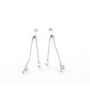 Cercei argint 925, rodiat, cu pietre zirconia montura micropave si perle,  7507O831