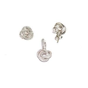 Set argint 925, rodiat, cu pietre zirconia 7521O538