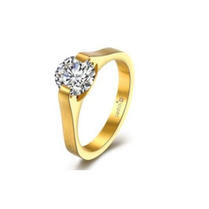 Inel placat cu aur de 18 k, model Solitair, colectia onlinebijoux, 7536O919