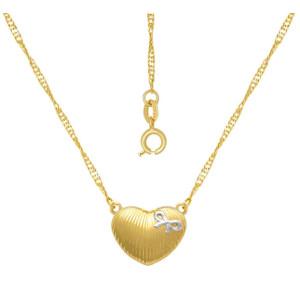 Colier placat cu aur de 18 k, 2 microni, productie Brazilia, colectia onlinebijoux , pandantiv model inimioara - 7559O325