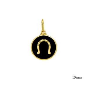Pandantiv placat cu aur de 18 K, 2 microni, productie Brazilia , cu email coloare neagra -  7569O78