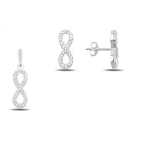Infinity, set argint 925, rodiat, cu pietre zirconia albe- 7586O532