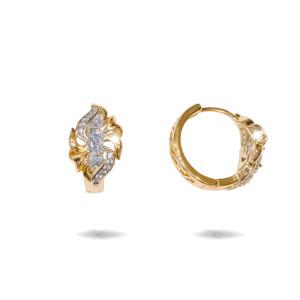 Cercei placati cu aur 18 K,model cu pietre zirconia montura micropave , 7619O824
