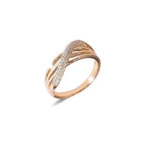 Inel placat cu aur de 18 K, cu pietre zirconia, montura micropave, 7630O924
