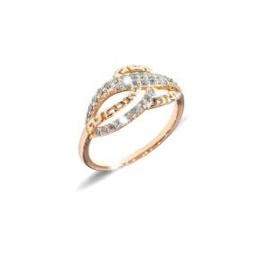 Inel placat cu aur de 18 K, colectia onlinebijoux, cu pietre zirconia albe, montura micropave, 7635O926