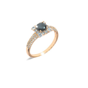 Inel placat cu aur de 18 K, colectia onlinebijoux, cu pietre zirconia albe, montura micropave, si o piatra zirconia neagra , 7636O925
