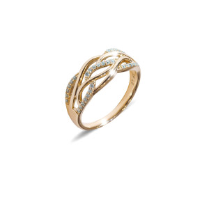 Inel placat cu aur de 18 K, colectia onlinebijoux, cu pietre zirconia albe, montura micropave, 7638O923