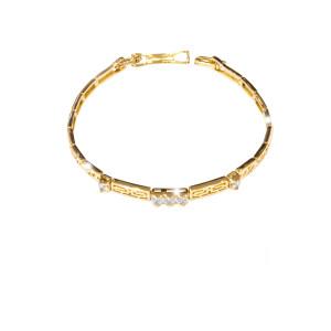 Bratara placata cu aur 18 k, cu pietre zirconia multifatetate  , model grecesc - 7662O444