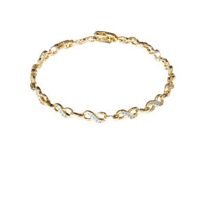 Bratara placata cu aur 18 k, cu pietre zirconia montura micropave  , model infinity - 7668o447