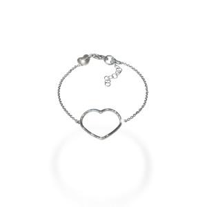 Love time , bratara argint 925, rodiata , model inimioara , productie Italia , 7692O434