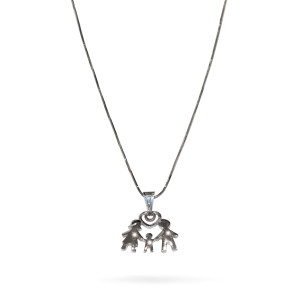 Colier argint 925, rodiat , lungime lant 45 cm, model familia , fara pietre - 7696O352