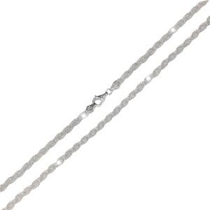 Colier argint 925, rodiat , fara pietre , lungime 46 cm, model impletit din 2 fire, 7701O374