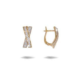 Cercei placati cu aur 18 K, 2 microni, cu pietre zirconia multifatetate  - 7726O824