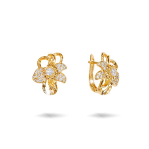 Cercei placati cu aur 18 K, 2 microni, cu pietre zirconia multifatetate  - 7729O822