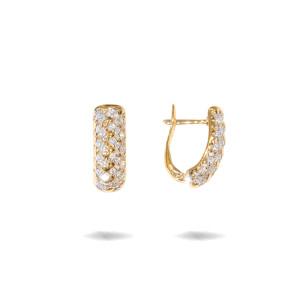 Cercei placati cu aur 18 K, 2 microni, cu pietre zirconia multifatetate - 7730O824