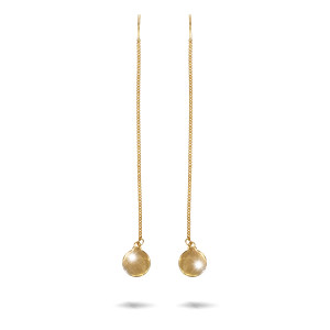 Cercei placati cu aur 18 K, 2 microni, lungime 10,5 cm ,diametru banut 1 cm - 7731O816