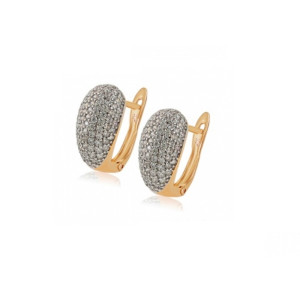 Cercei placati cu aur de 18 k, cu pietre zirconia , montura micropave 7467O833
