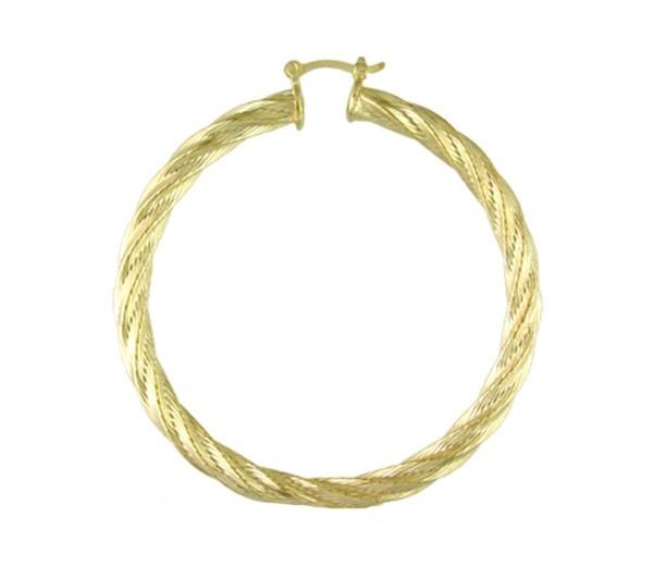 Cercei model creola rasucita , placati cu aur de 18 k , diametru  3,2 cm , 1359O826
