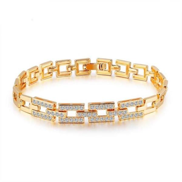 Bratara placata cu aur de 18 k, colectia Golden Shine, cu pietricele zirconia, montura micropave - 7450O439