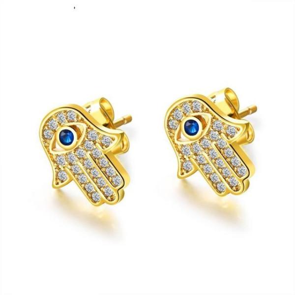 Cercei placati cu aur de 18k, cu pietricele zirconia montura micropave model Mana lui Fatima-  7455O817