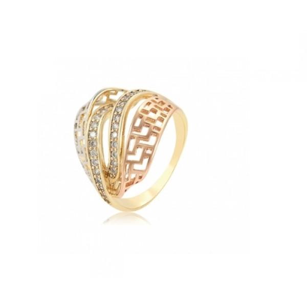 Inel placat cu aur de 18 k, cu pietre zirconia , multicolor 7528O924