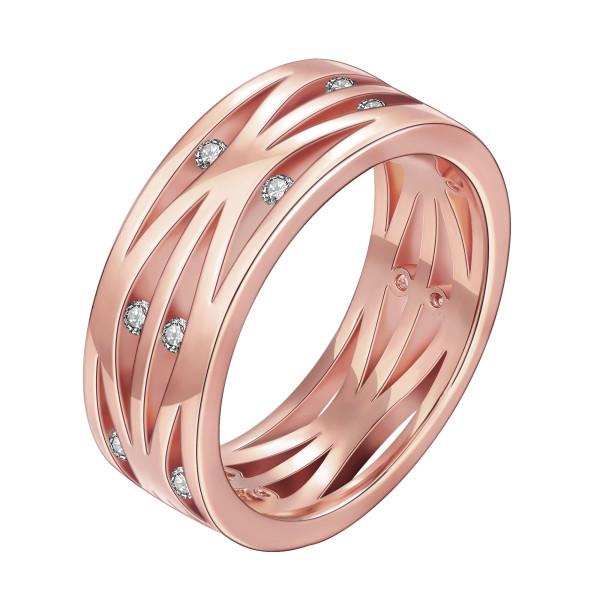 Inel placat cu aur roz , colectia onlinebijoux, cu pietre zirconia albe 7534O921
