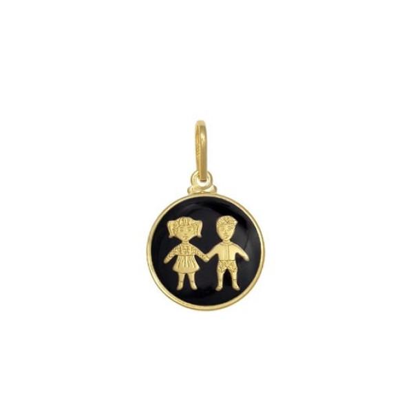 Pandantiv placat cu aur de 18 K, 2 microni, productie Brazilia , cu email colare neagra -  7568O78